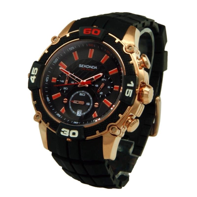 Stijlvol Goudkleurig Heren Horloge met Zwarte Silicone Horlogeband