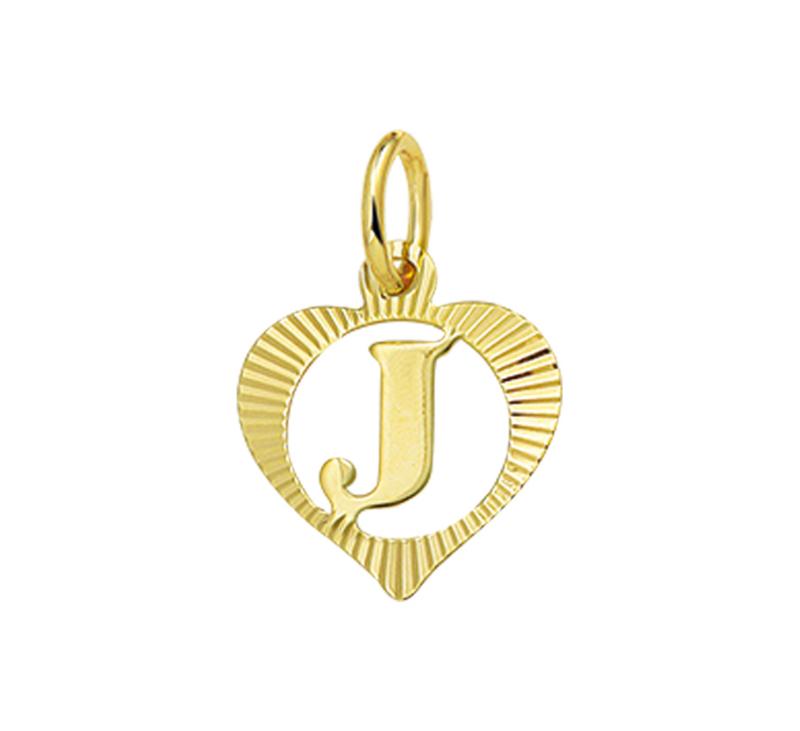 Hartvormige Alfabet Letter J Hanger van Geelgoud