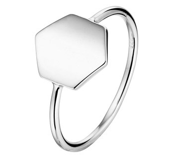 Zilveren Ring met Groot Zeshoekig Kopstuk voor Dames