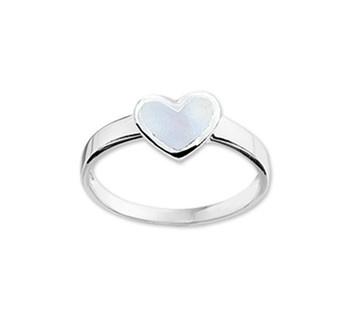 Ring voor Kinderen met Lichtblauwe Parelmoer / Maat 15,5