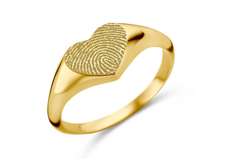 Gouden Zegelring Hartvorm met Vingerafdruk | Names4ever