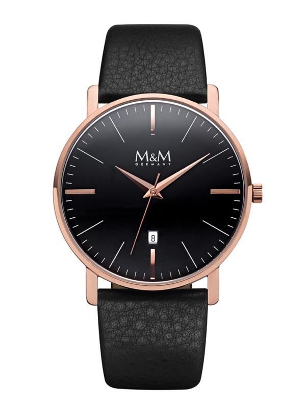 Roségoudkleurig Heren Horloge met Zwart Lederen Band van M&M