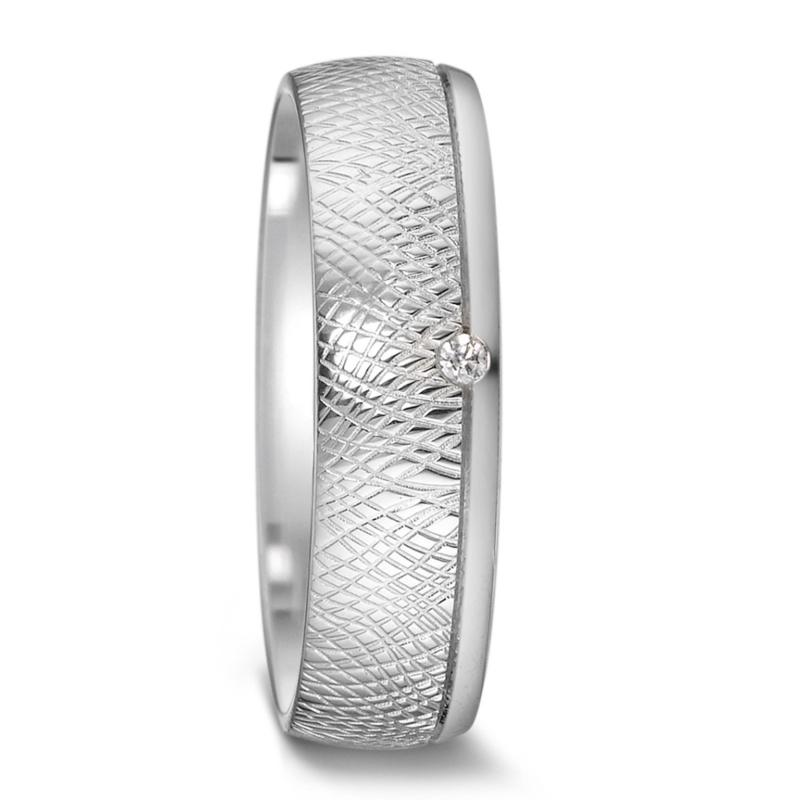 Creatief Bewerkte Zilveren Dames Trouwring met Diamant
