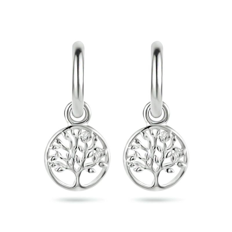 Zilveren Klapoorringen met Levensboom
