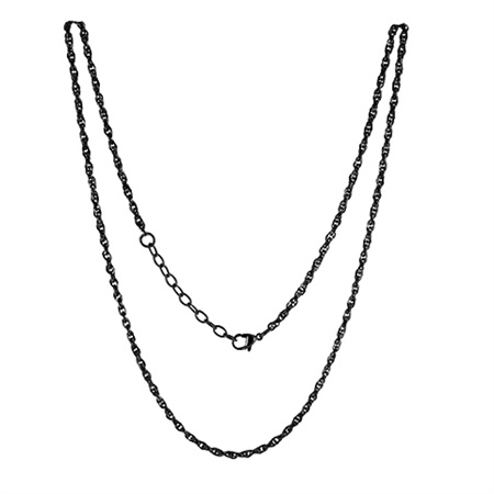 LOCKits Zwart Edelstalen Heli Twist Collier 45cm