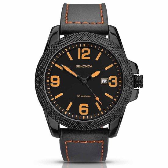 Sekonda Zwart Heren Horloge met Zwart Leder