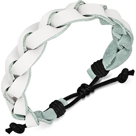 Wit leren gevlochten armband SKU66489