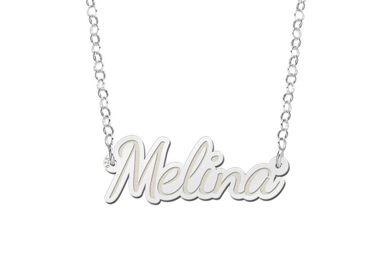 Names4ever Melina Model Zilveren Naamketting van Names4ever