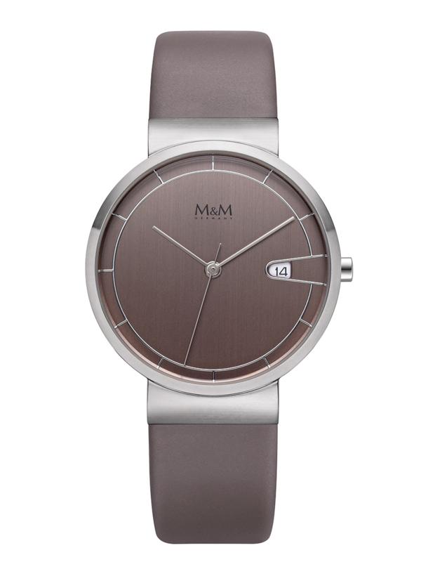 Zilverkleurig M&M Unisex Horloge met Taupe Lederen Horlogeband