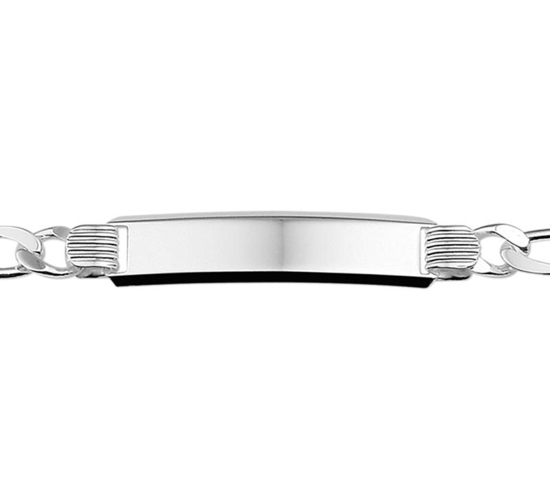 Figaro Plaat 8 mm Unisex Graveer Armband van Zilver 20 cm