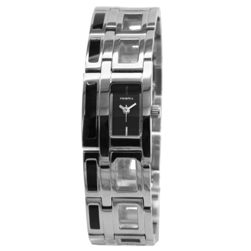 Prisma Klassiek Rechthoekig Dames Horloge met Zwarte Wijzerplaat