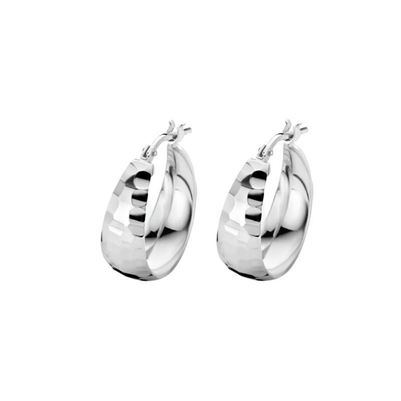 Gediamanteerde Oorringen van Zilver 18 mm
