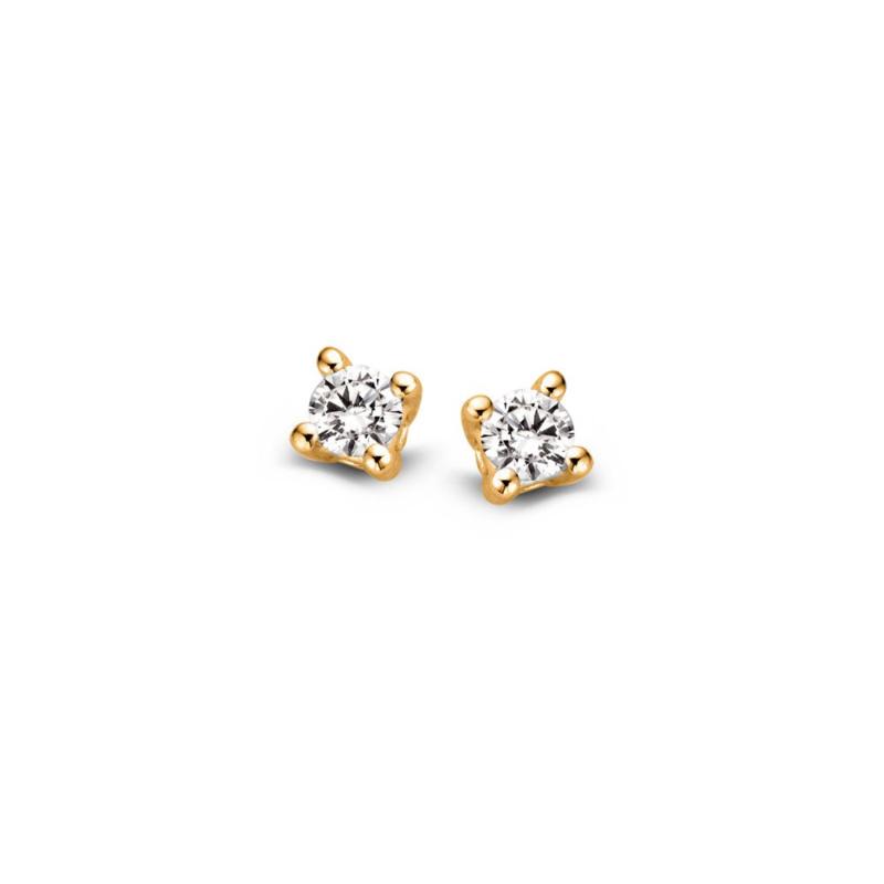 Excellent Jewelry Geelgouden Oorstekers met 0,10 crt. Briljant