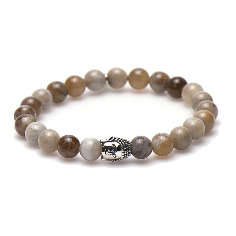 Brown Sugar Karma Armband met Zilveren Buddha 86524