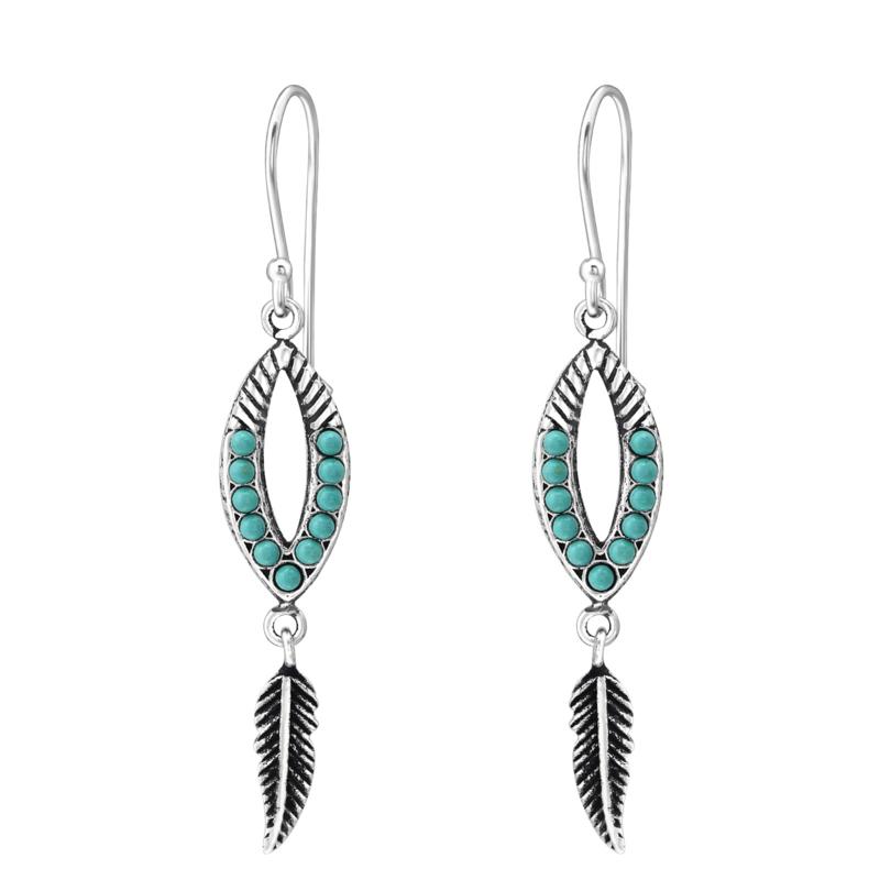 Zilveren Oorhangers met Turquoise Steentjes en Veerhanger