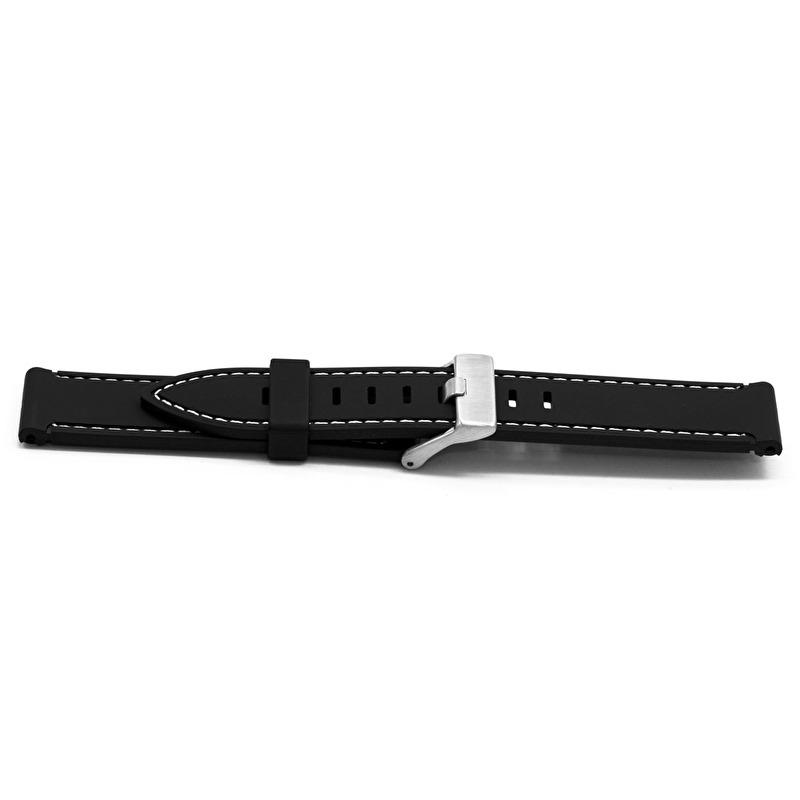 Horlogeband XH18 PU Wit Gestikt 22mm