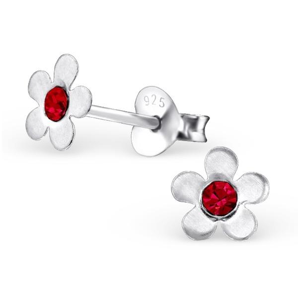 Bloemen Oorbellen + Strass steentje rood