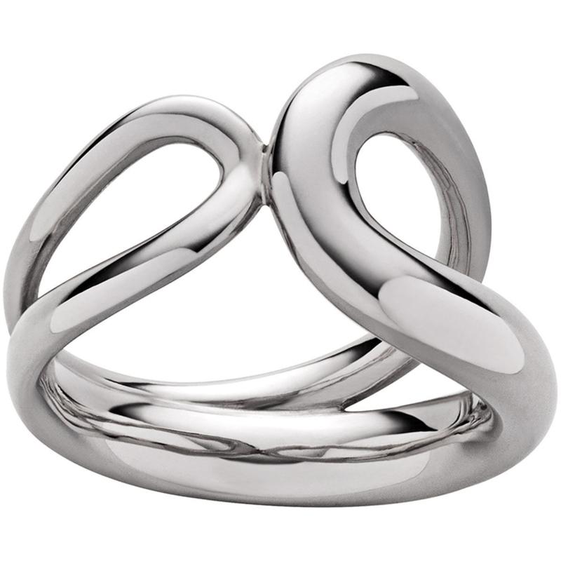 Zilverkleurige Edelstalen Ring met Twee Lussen van M&M