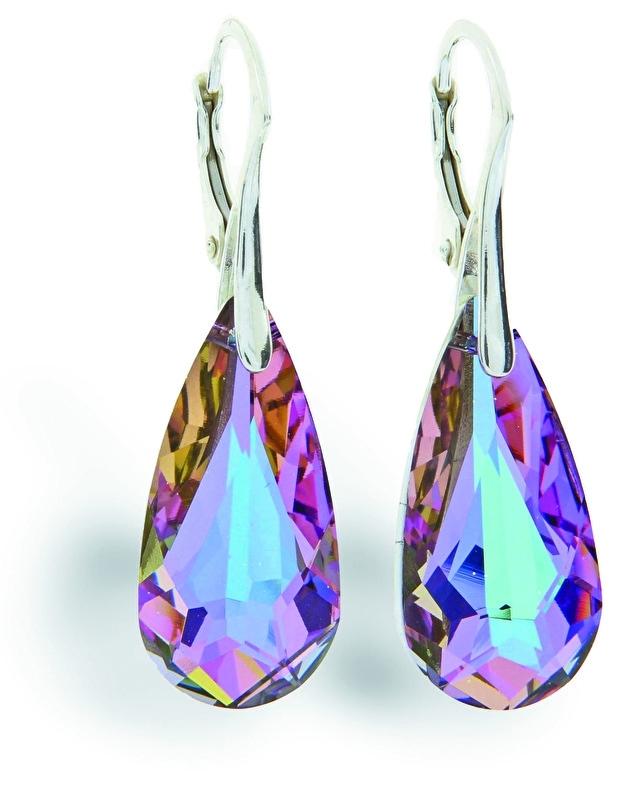Teardrop Roze Glaskristallen Oorhangers van Spark Jewelry