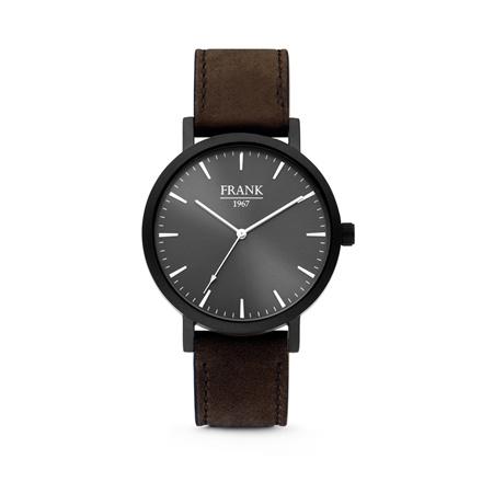 Zwart Horloge van Frank 1967 met Zwarte Wijzerplaat en Donkerbruine Horlogeband