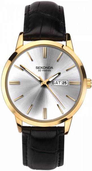 Sekonda Goudkleurig Heren Horloge met Zwart Leder