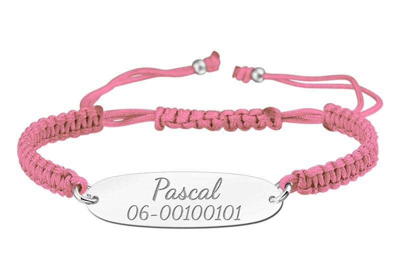 Roze Koordarmband met Naam/Nummer