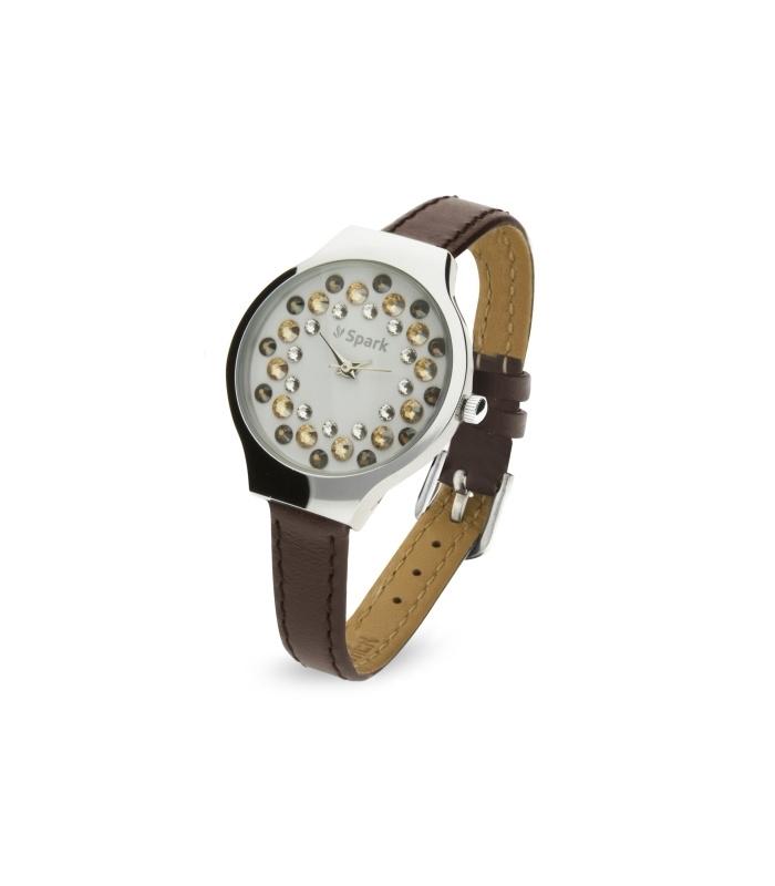 Spark Horloge met Bruin Lederen Horlogeband