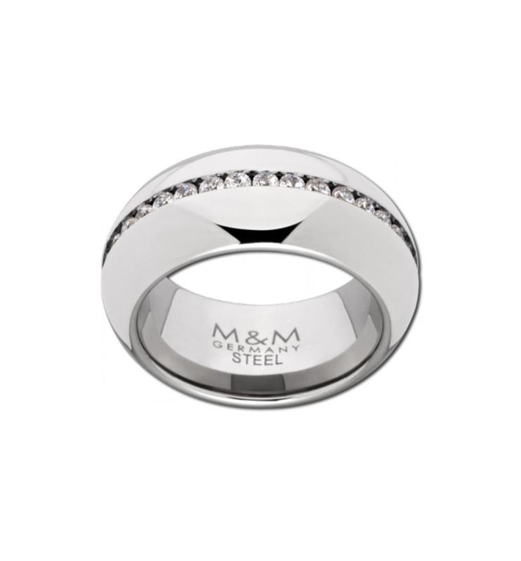 Robuuste Zilverkleurige Ring met Kleurloze Zirkonia Rij van M&M