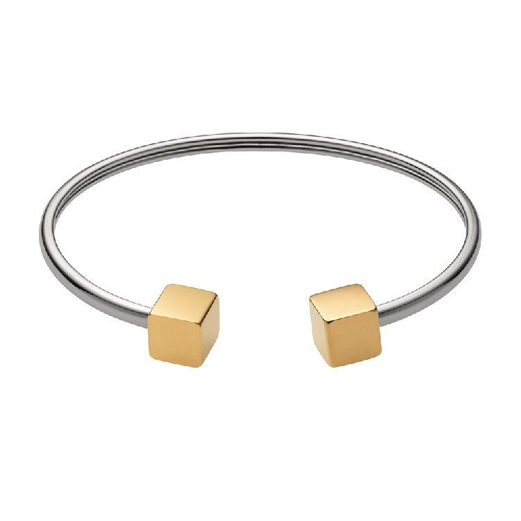 Zilverkleurige Armband met Goudkleurige Kubussen van M&M