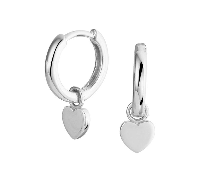 Zilveren Oorringen met Hartvormige Hanger
