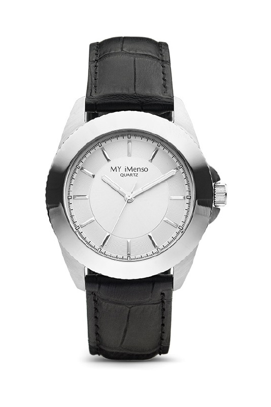 Compleet MY iMenso Quartz Horloge Zilverkleurig + Leren band