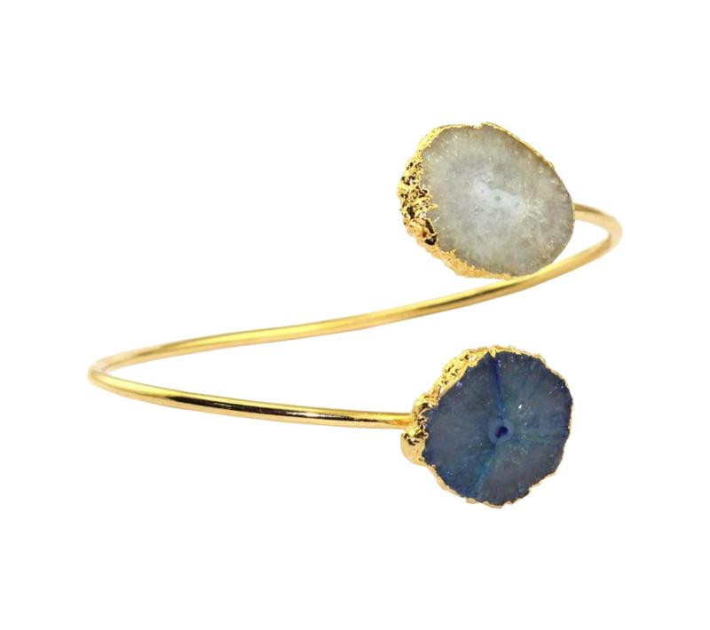 Bangle met Quartz en Blauwe Geode Druzy Edelstenen van Sujasa