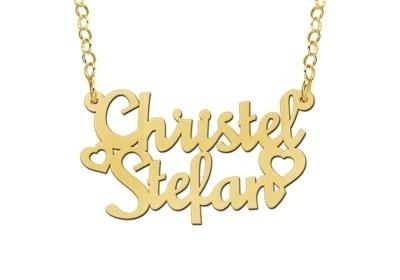 Names4ever Christel-Stefan Stijl Gouden Naamketting