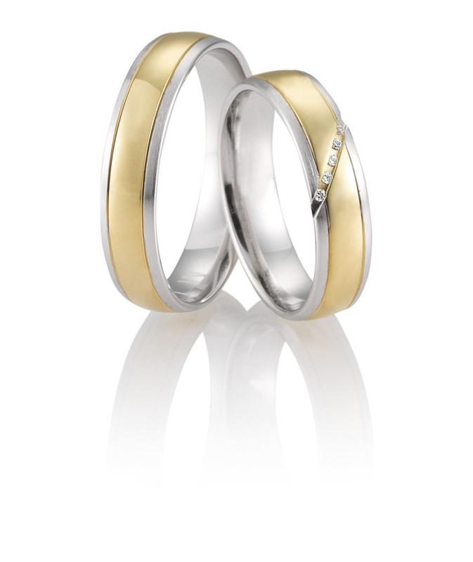 Gouden Freya Trouwringen Set met Diamanten Patroon