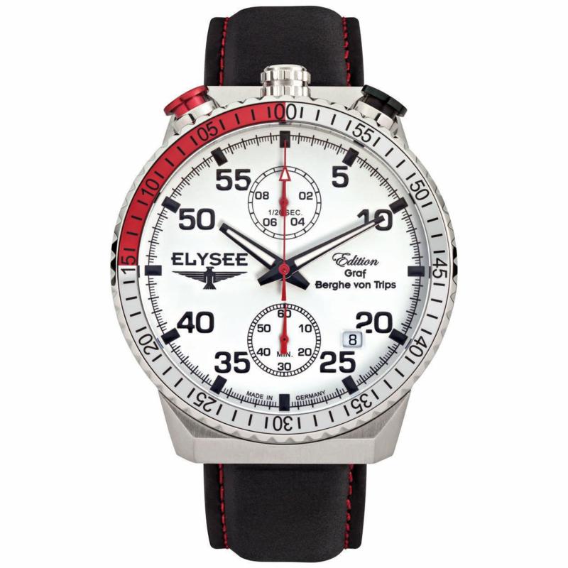 Rally Timer Zilverkleurige Heren Horloge van Elysee