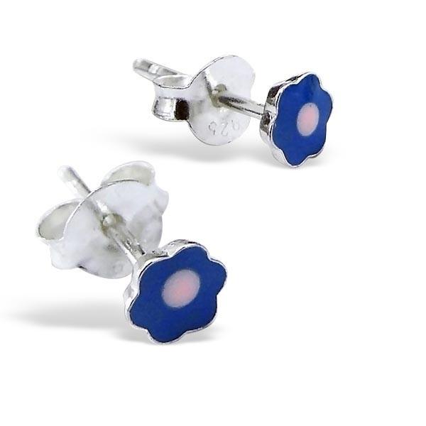 Zilveren oorbellen voor meisjes SU172-blauw