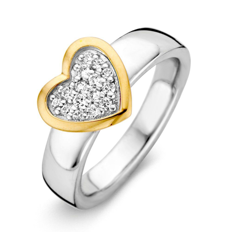 Excellent Jewelry Brede Witgouden Ring met Hartvormige Zirkonia Plaatje