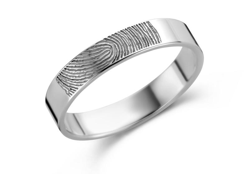 Ring met Vingerafdruk van Zilver 4 mm  van Names4ever