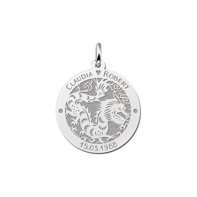 Ronde Chinese Sterrenbeeld Draak Hanger van Zilver