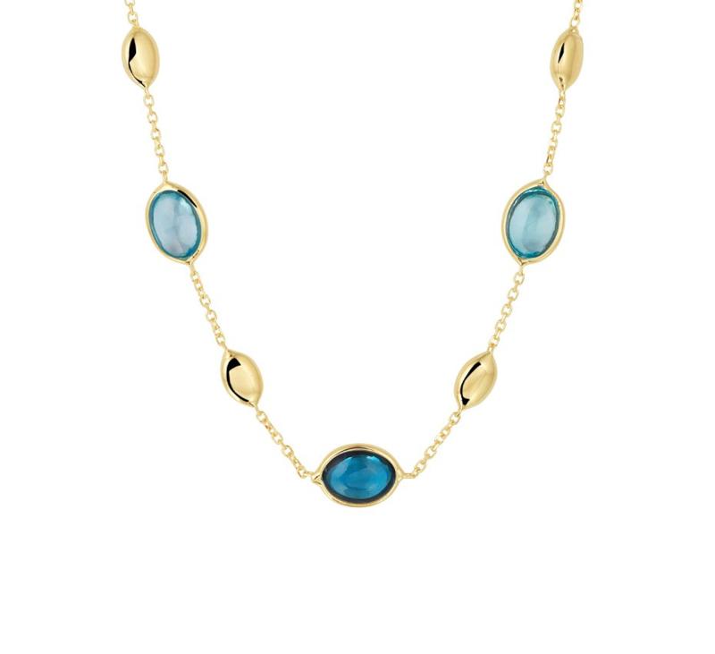Collier van Geelgoud met London Blue en Blauwe Topaas Edelstenen