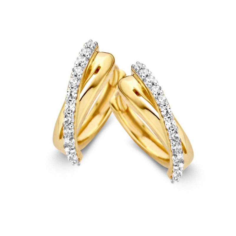 xcellent Jewelry Geelgouden Creolen met Diagonale Zirkonia Rij