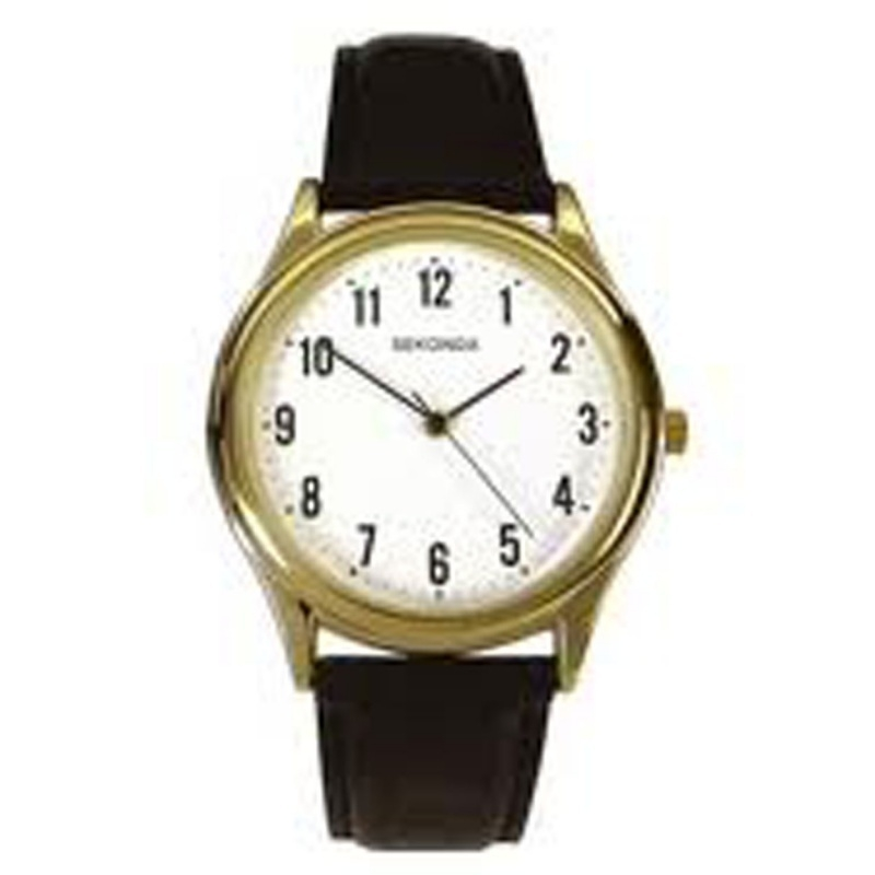 Sekonda Horloge / Zwart leren band SEK.3623