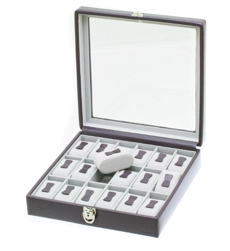 Vierkante Horlogedoos van Donkergrijs Leer