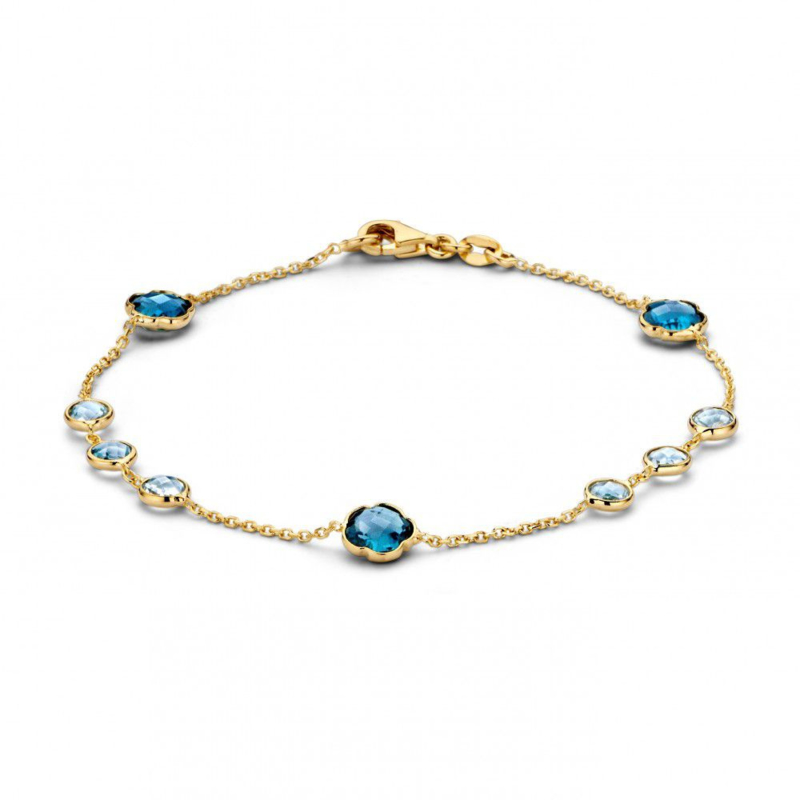 Excellent Jewelry Geelgouden Armband met Topaas / London Blue Topaas