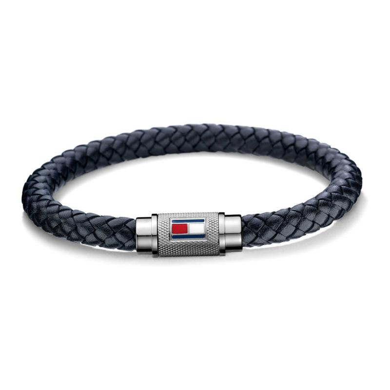 Tommy Hilfiger Zwart Lederen Gevlochten Armband TJ2701000