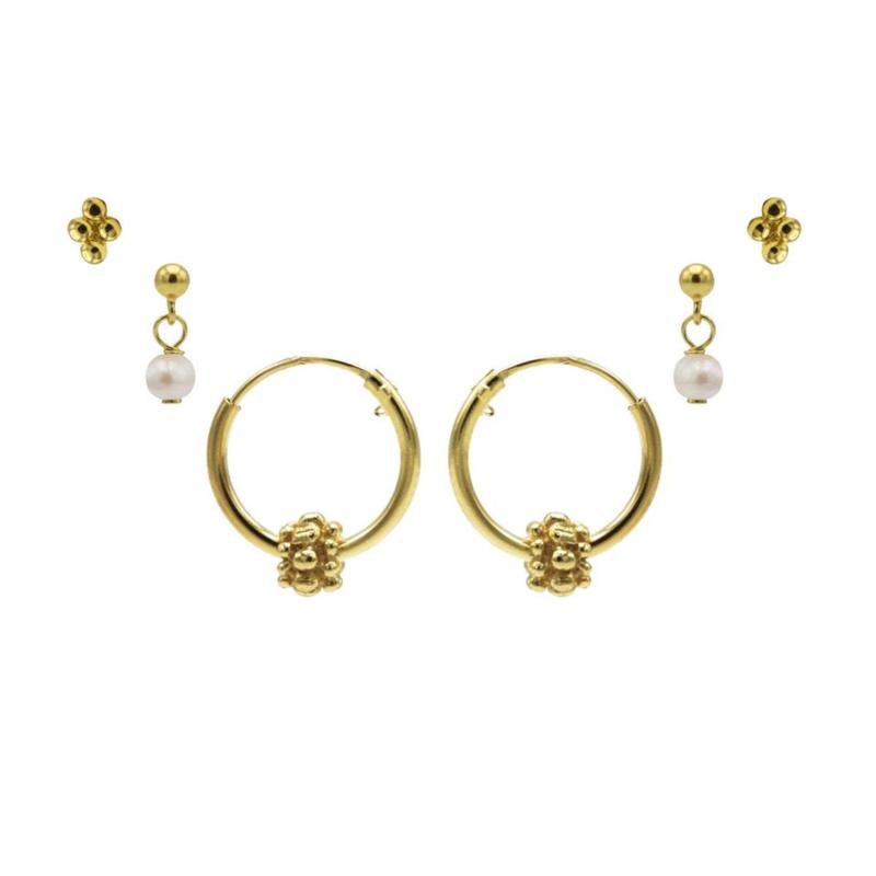 Karma Jewelry – Zesdelige Pretty Pearls Earparty Set - Gold
