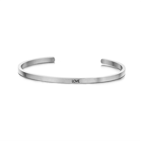 Zilverkleurige 'Love' Bangle Armband van Edelstaal