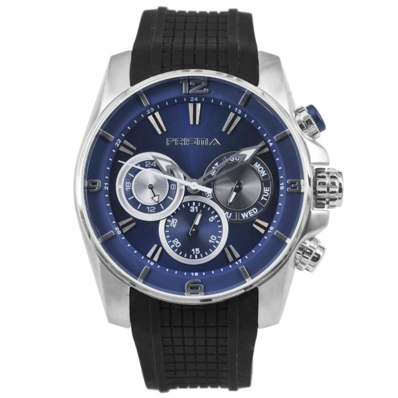 Blauw Heren Horloge met Zwarte Band van Prisma