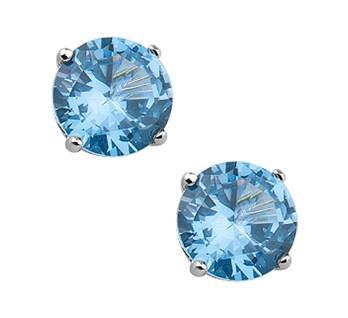 Robuuste Blauwe Zirkonia Oorknoppen van Zilver