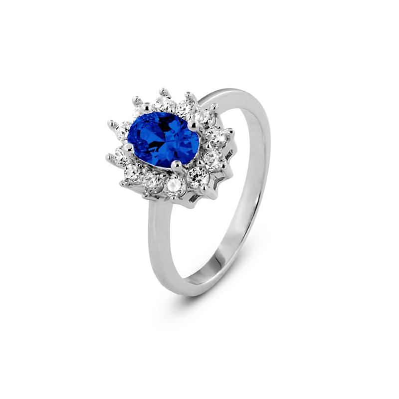 New Bling Zilveren Zon Ring met Blauwe en Kleurloze Zirkonia's